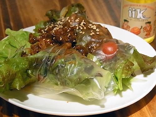 イークハバネロオイルレシピ・辛肉味噌の生春巻